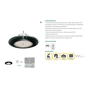 LUMINARIA CAMPANA LED HIGH BAY 200W GC350 5700K .220 -240V. GC350