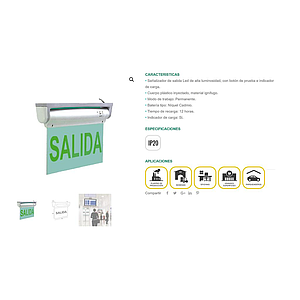 LETRERO SALIDA LED  COLOR VERDE  110V-130AC